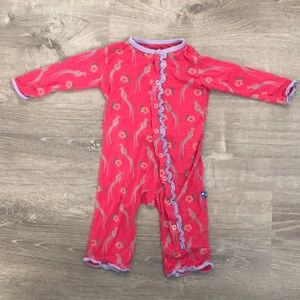 Kickee Pants Pink Girls Ruffle Coverall 3-6M